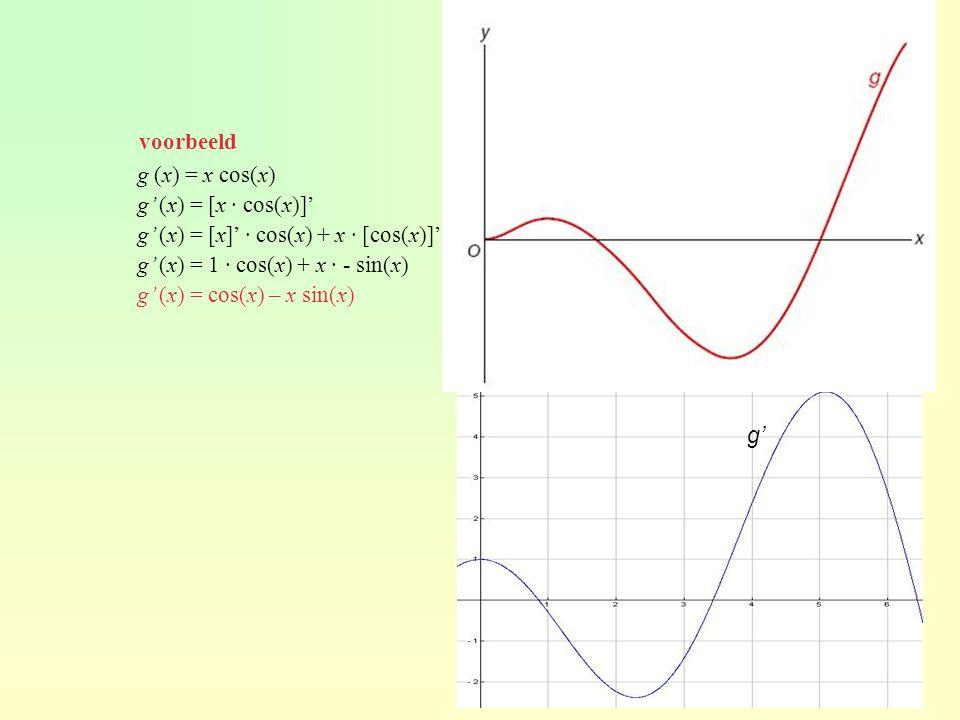 voorbeeld g (x) = x cos(x) g' (x) = [x · cos(x)]' g' (x) = [x]' · cos(x) + x · [cos(x)]' g' (x) = 1 · cos(x) + x · - sin(x)